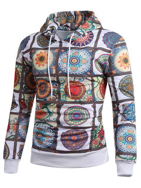 Flower Plaid Pattern Drawstring Hoodie - multicolor M