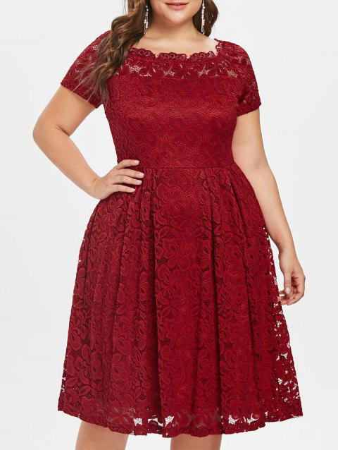 Plus Size Short Sleeve Lace A Line Dress - RED 1X