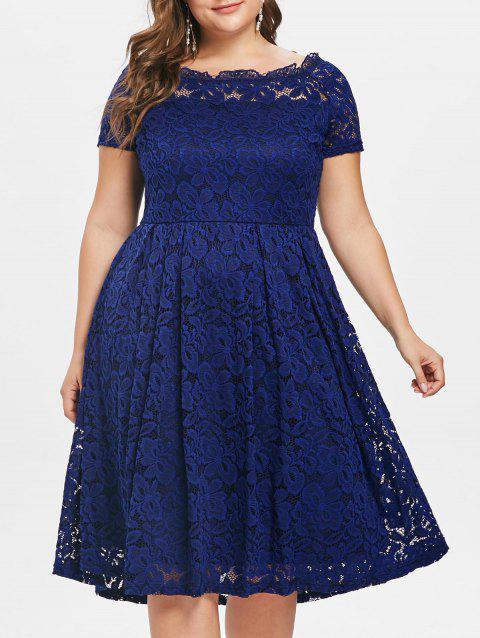 Plus Size Short Sleeve Lace A Line Dress - CADETBLUE L
