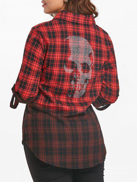 Plus Size Halloween Beads Skulls Plaid Shirt - multicolor 2X