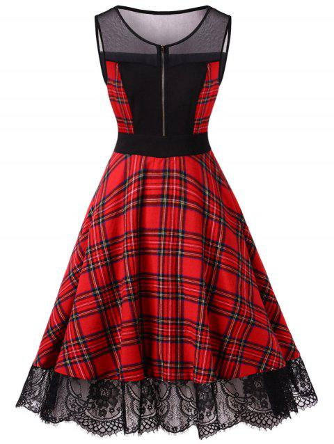 Vintage Mesh Insert Plaid Pin Up Dress - FIRE ENGINE RED L