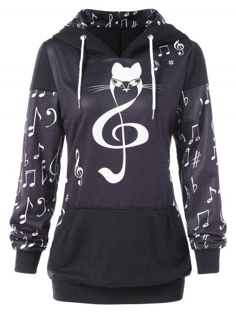 Front Pocket Musical Notes Print Pullover Hoodie - multicolor M