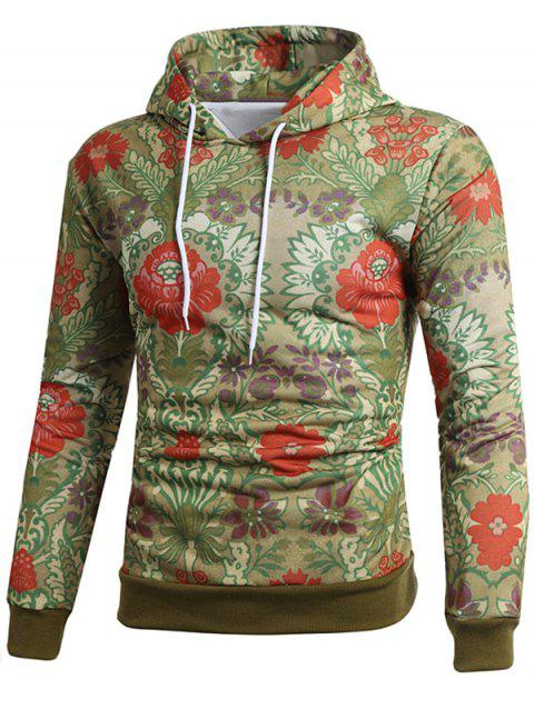 Ethnic Style Flower Printed Pullover Hoodie - multicolor M