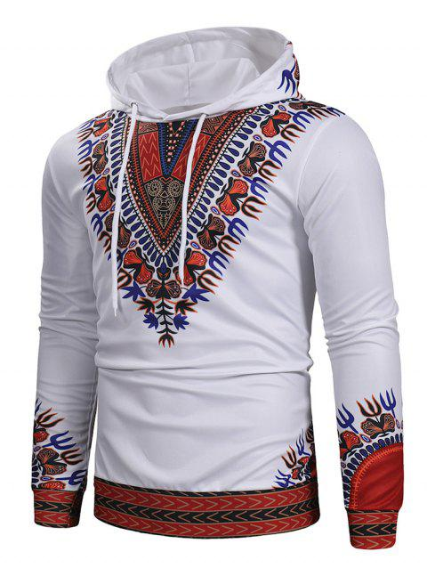 Ethnic Style Printed Pullover Hoodie - WHITE M