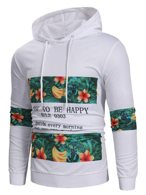 Fruit Letter Printed Pullover Hoodie - WHITE M