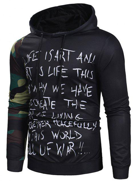 Camouflage Sleeve Letter Print Pullover Hoodie - BLACK L