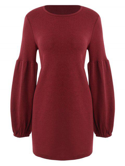 Lantern Sleeve Tunic Knit Dress - RED WINE M