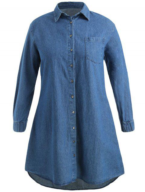2018 Plus Size Pocket Denim Dress In Denim Blue 1x Dresslily