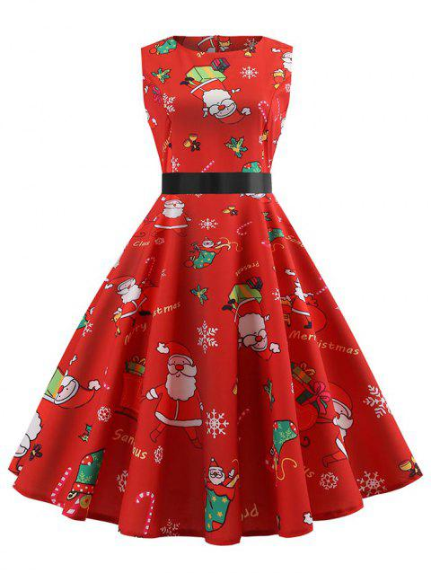 Santa Claus Print Christmas Pin Up Dress - RED XL