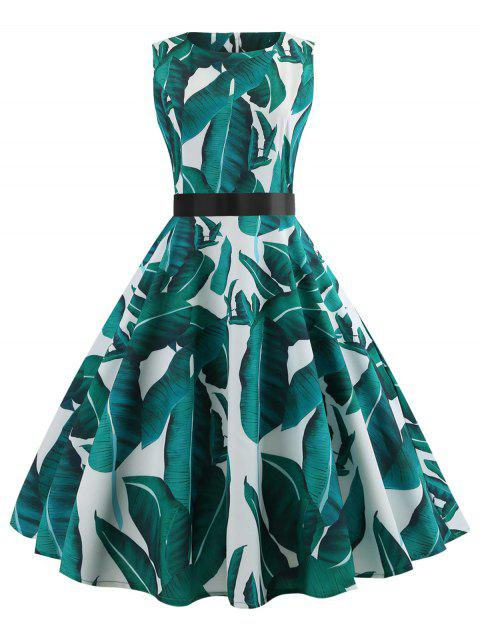 Robe Pin Up Vintage Imprimé Tropical - Aigue Marine Moyenne 2XL