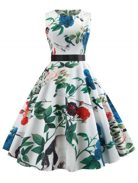 Flower Print Fit and Flare Dress - WHITE XL