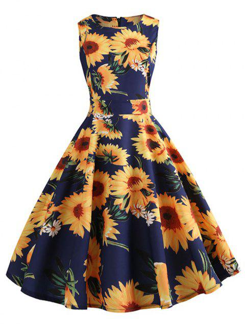 Vintage Sunflower Print Belt Fit and Flare Dress - MIDNIGHT BLUE 2XL