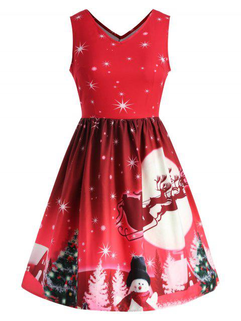 Christmas Gift Print Plus Size A Line Dress - RED 4X