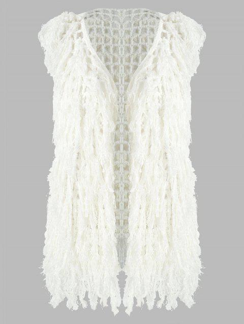 Cut Out Tassels Knit Vest Cardigan - WHITE S