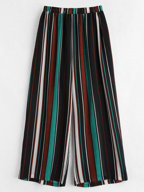 Pantalon Rayé Semi-Transparent de Grande Taille - multicolor 1X