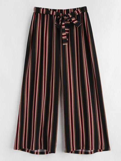 Plus Size High Waisted Striped Pants - multicolor 2X