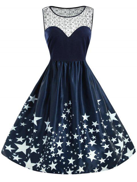 Plus Size Sleeveless Star Print Dress - CADETBLUE L
