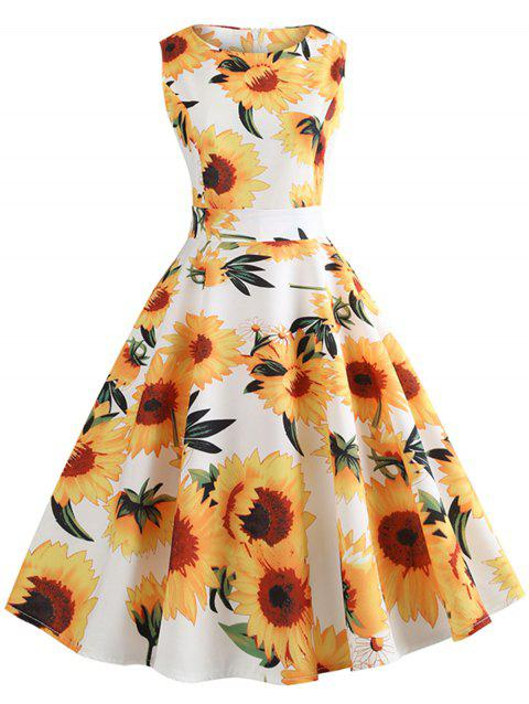 Vintage Sunflower Print Belt Fit and Flare Dress - MILK WHITE M