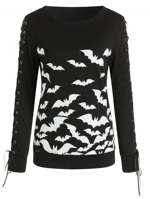 Lace Up Halloween Bat Pullover - BLACK M