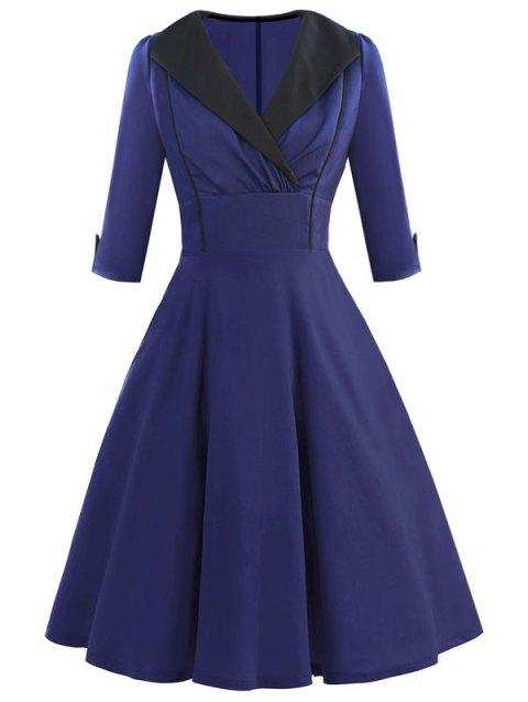 Plus Size Lapel Vintage Dress - DEEP BLUE L