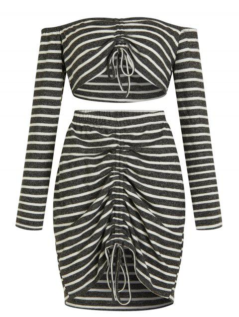 Off The Shoulder Plus Size Striped Two Piece Dress - GRAY 1X