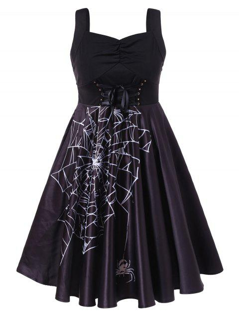 Plus Size Ruched Spider Web Halloween Vintage Dress - BLACK L
