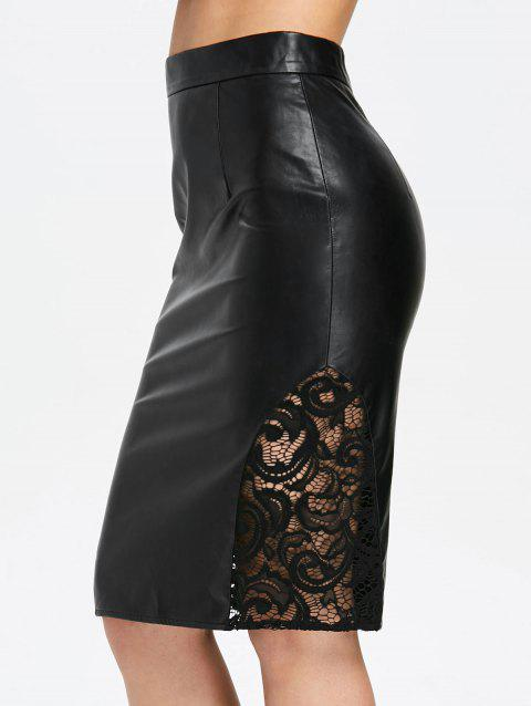 Openwork Lace Panel PU Leather Skirt - BLACK M