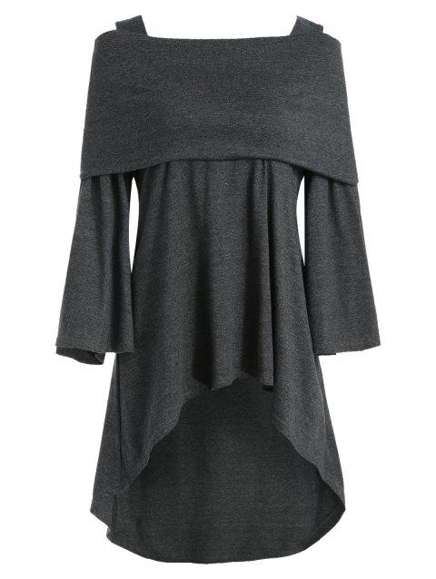 Bare Shoulder Long Fold Over T-shirt - CARBON GRAY XL