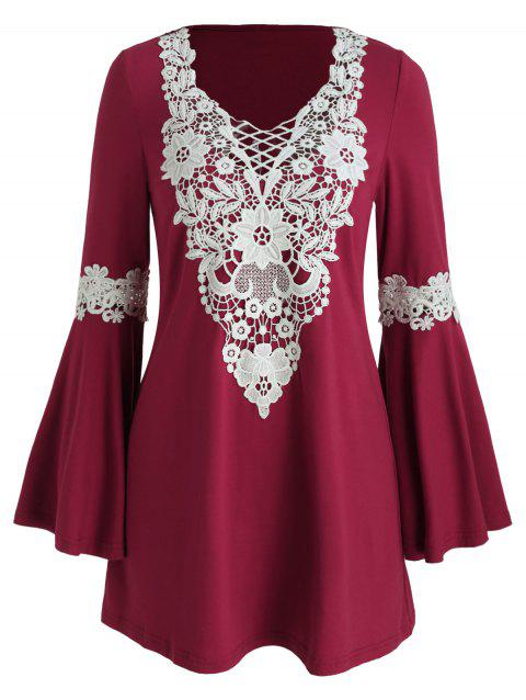 Crochet Panel Flare Sleeve Tunic Dress - RED WINE L