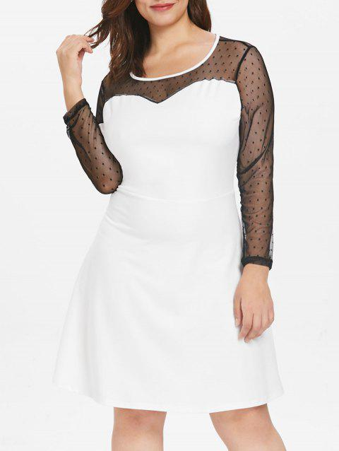 Plus Size Polka Dot Mesh Dress - WHITE 3X