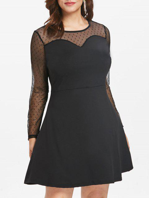 Plus Size Polka Dot Mesh Dress - BLACK 4X