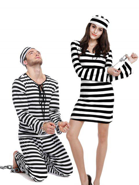 Ensemble d'Uniforme d' Halloween Rayée Pour Couples - Noir DAD ONE SIZE