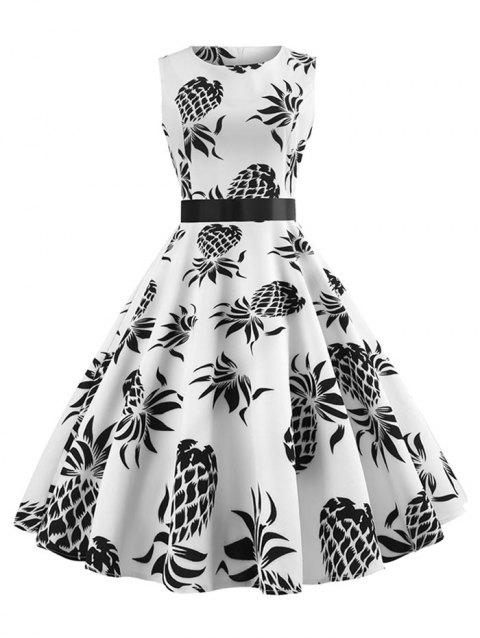 Vintage Pineapple Print Pin Up Dress - WHITE XL