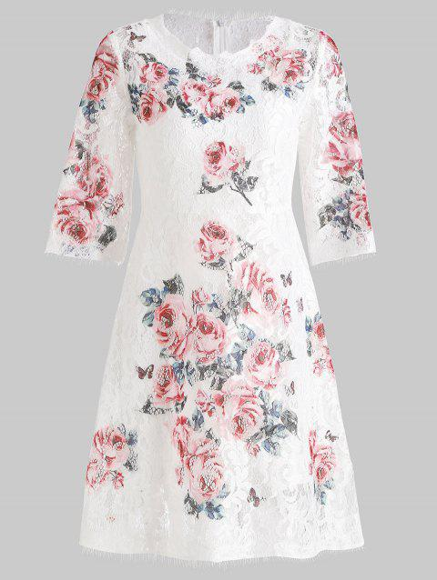 Lace Floral Print Dress and Camisole - WHITE M