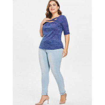 Plus Size Marled Square Neck T-shirt - NAVY BLUE 1X