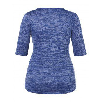 Plus Size Marled Square Neck T-shirt - NAVY BLUE 2X