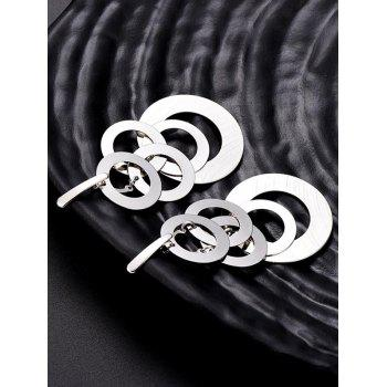 Multi-layer Round Shape Dangle Earrings - SILVER