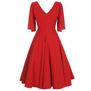 Plus Size Flutter Sleeve Vintage Dress - RED L