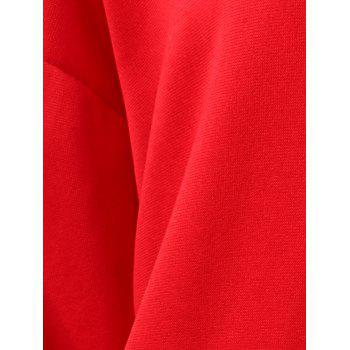 Drawstring Drop Shoulder Pullover Hoodie - LAVA RED M