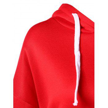 Drawstring Drop Shoulder Pullover Hoodie - LAVA RED L