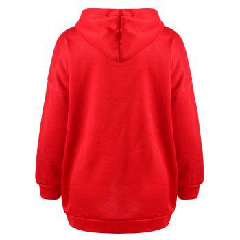 Drawstring Drop Shoulder Pullover Hoodie - LAVA RED XL