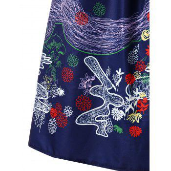 Retro Printed Fit and Flare Dress - DEEP BLUE XL