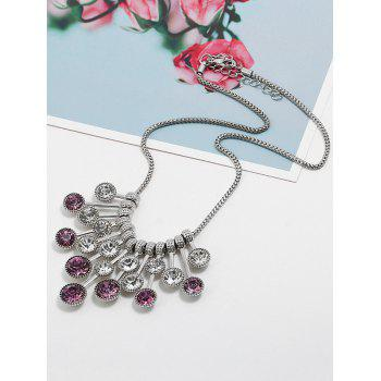 Round Rhinestone Inlaid Bohemian Necklace - PALE VIOLET RED