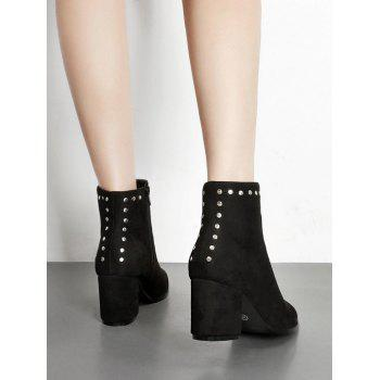Rivet Mid Heel Short Boots - BLACK EU 37