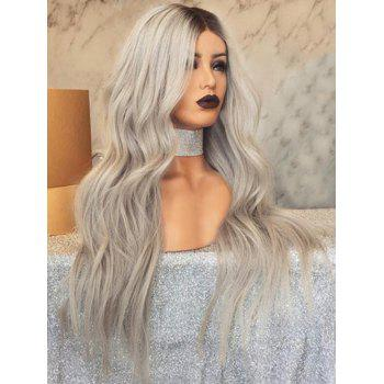 Long Gradient Middle Part Wavy Synthetic Wig - multicolor