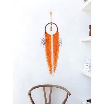 Fringed Feathers Handmade Dream Catcher - PAPAYA ORANGE