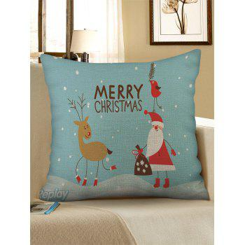 Christmas Santa Claus Elk Print Sofa Linen Pillowcase - CYAN OPAQUE W18 X L18 INCH