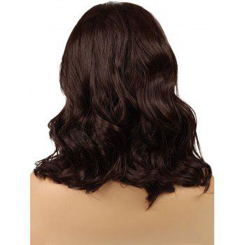 Medium Synthetic Side Parting Wavy Party Lace Front Wig - DEEP COFFEE 14INCH