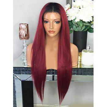 Long Middle Part Ombre Straight Cosplay Synthetic Wig - RED WINE