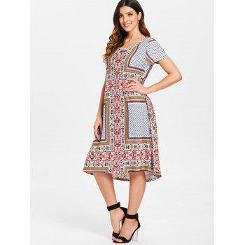 Paisley Print Bohemian Dress - multicolor L